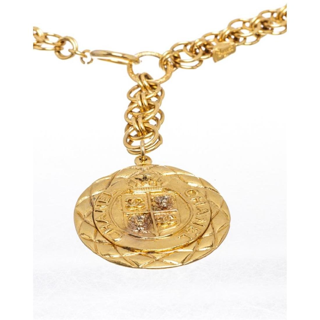 Chanel Gold Chain Link Medallion Long Necklace - 2