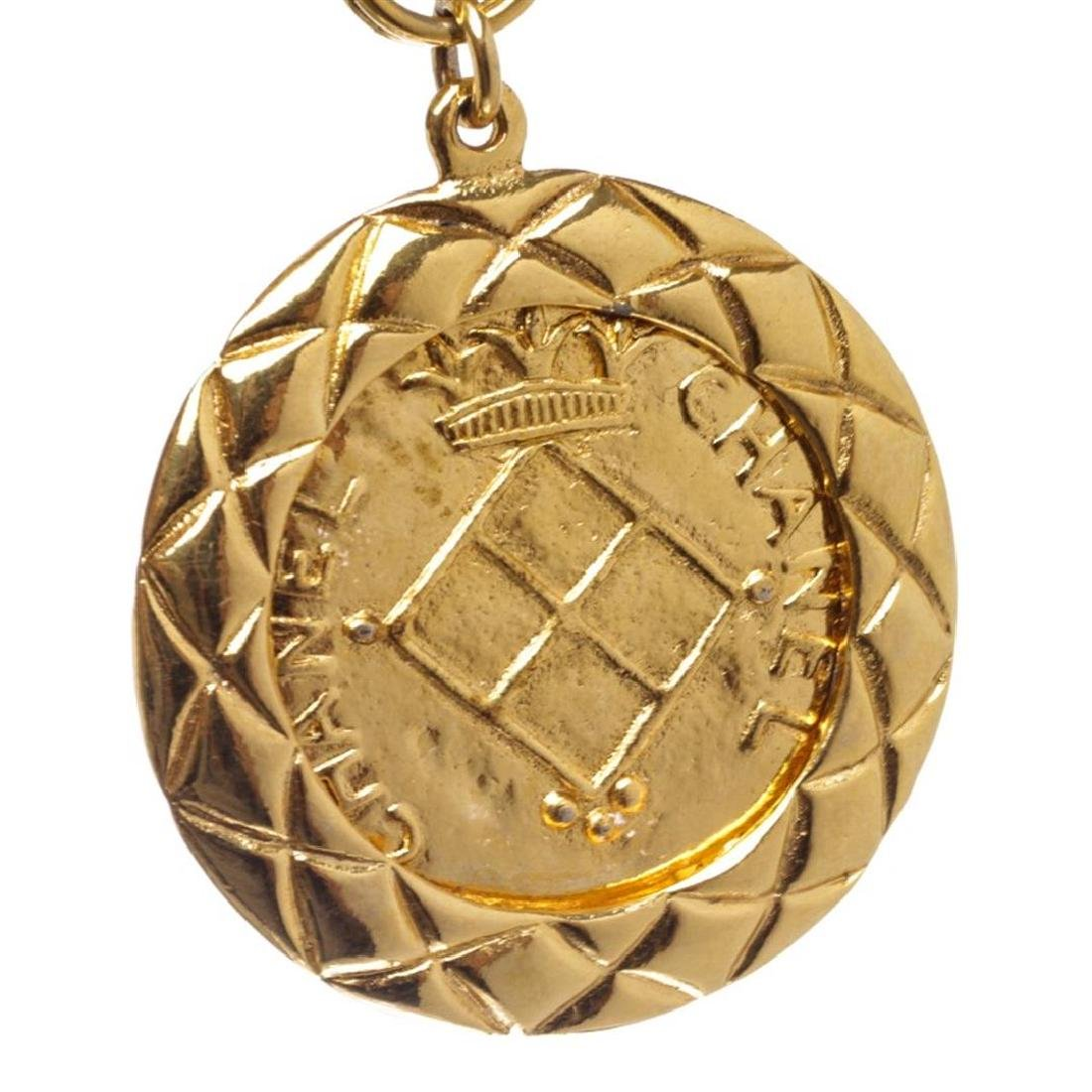 Chanel Gold Chain Link Medallion Long Necklace - 4