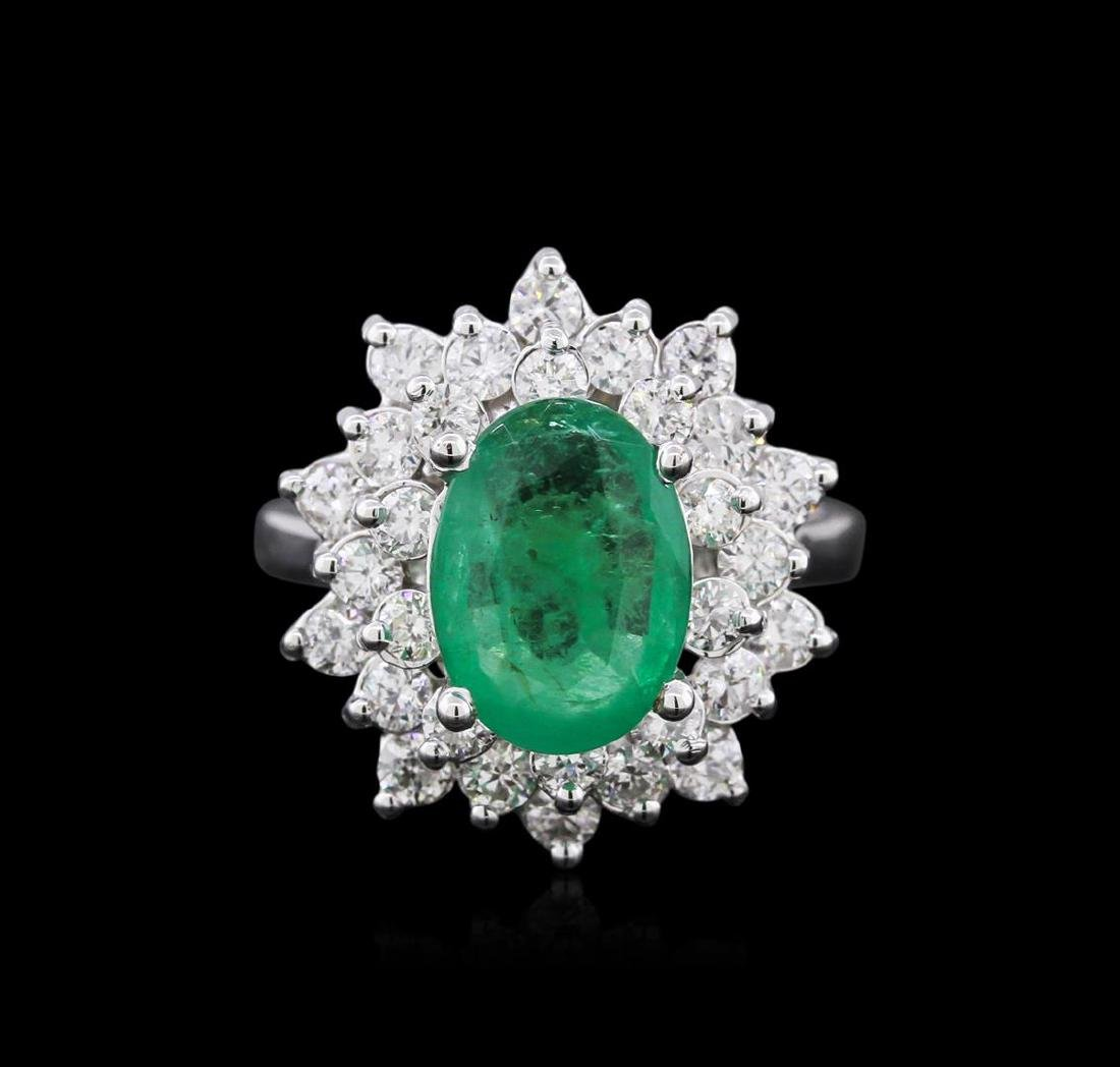 14KT White Gold 2.77 ctw Emerald and Diamond Ring - 2