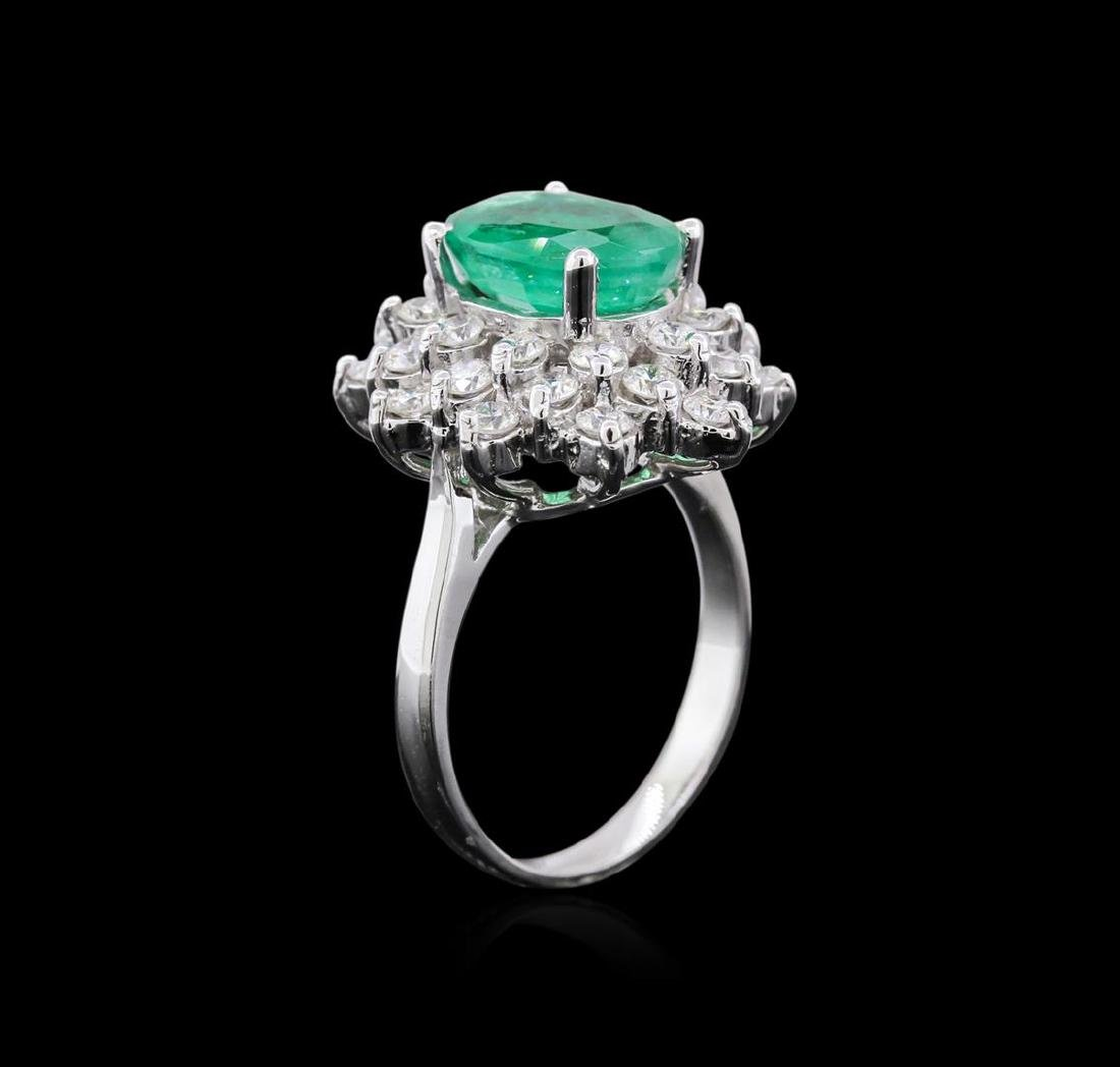 14KT White Gold 2.77 ctw Emerald and Diamond Ring - 3