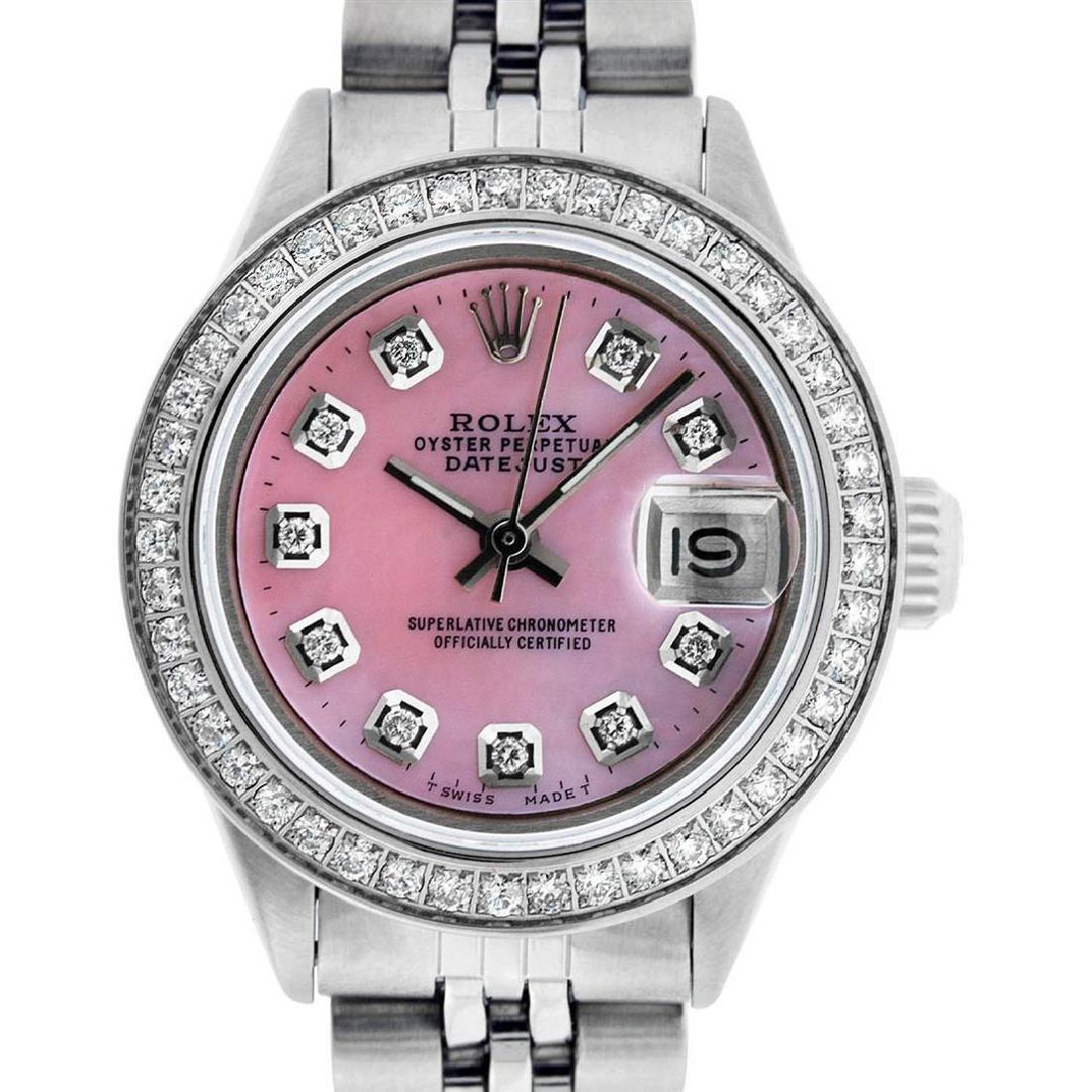 Rolex Ladies Stainless Steel Pink MOP Diamond Datejust
