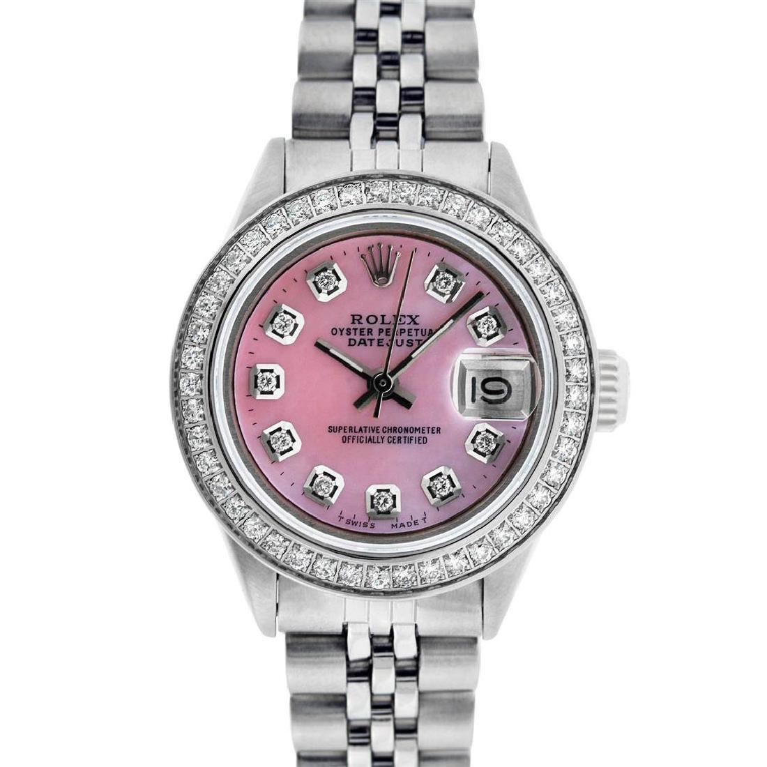 Rolex Ladies Stainless Steel Pink MOP Diamond Datejust - 2