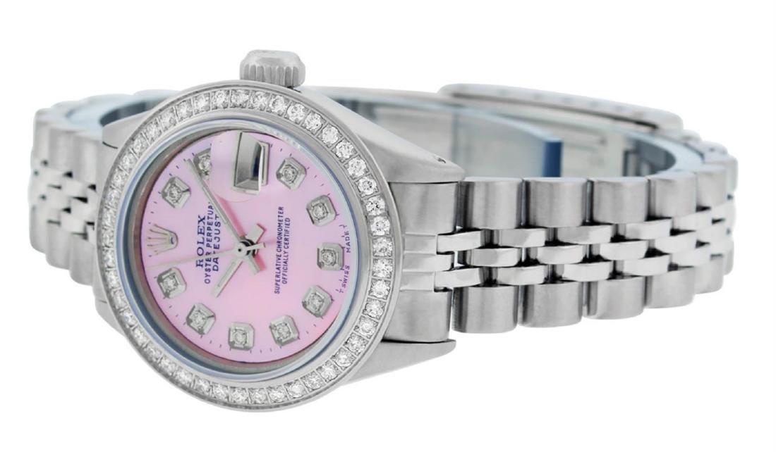 Rolex Ladies Stainless Steel Pink MOP Diamond Datejust - 4