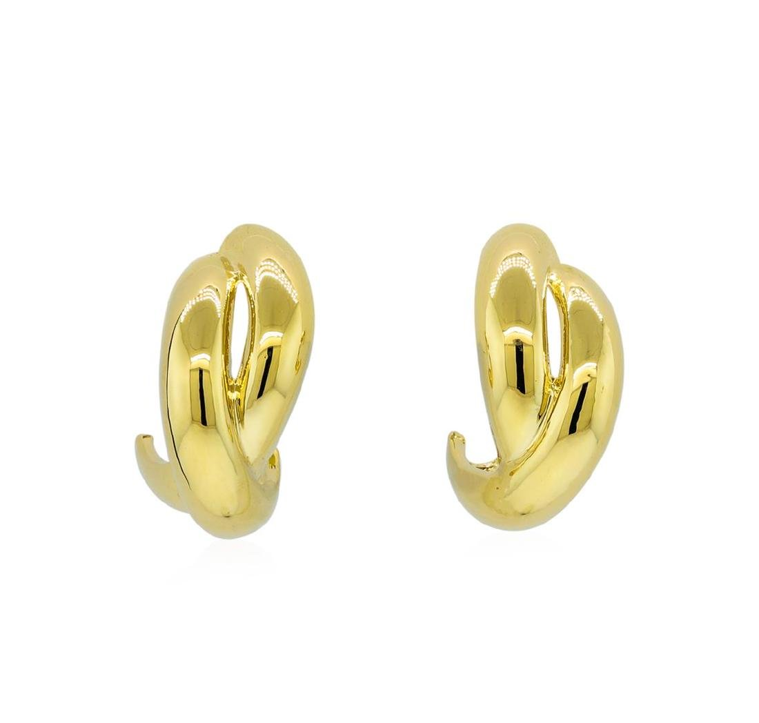 Crossed Hoop Post Earrings - Gold Plated