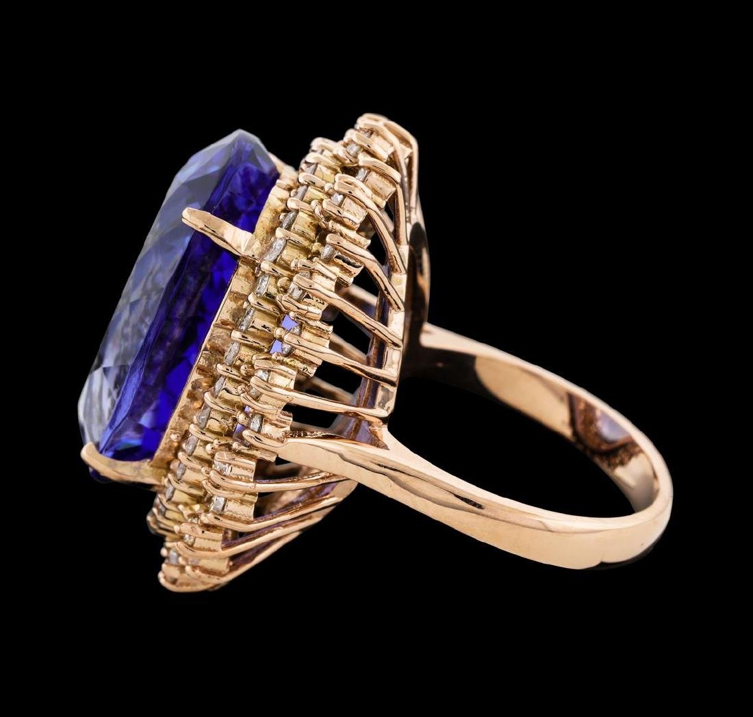 22.99 ctw Tanzanite and Diamond Ring - 14KT Rose Gold - 3