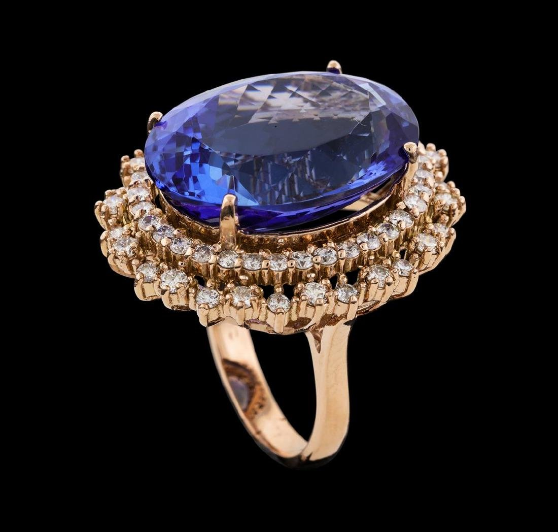 22.99 ctw Tanzanite and Diamond Ring - 14KT Rose Gold - 4
