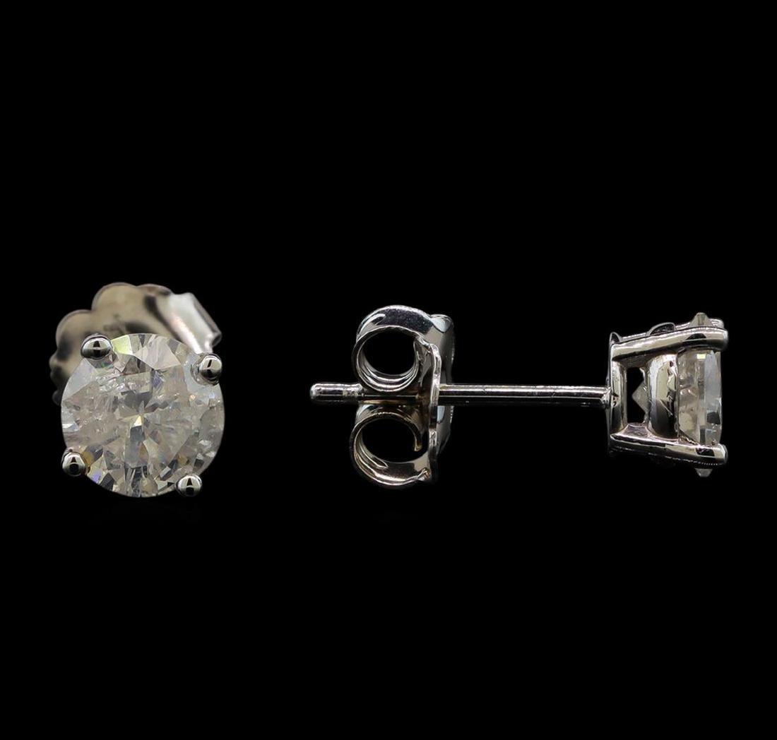 14KT White Gold 1.29 ctw Diamond Stud Earrings - 2