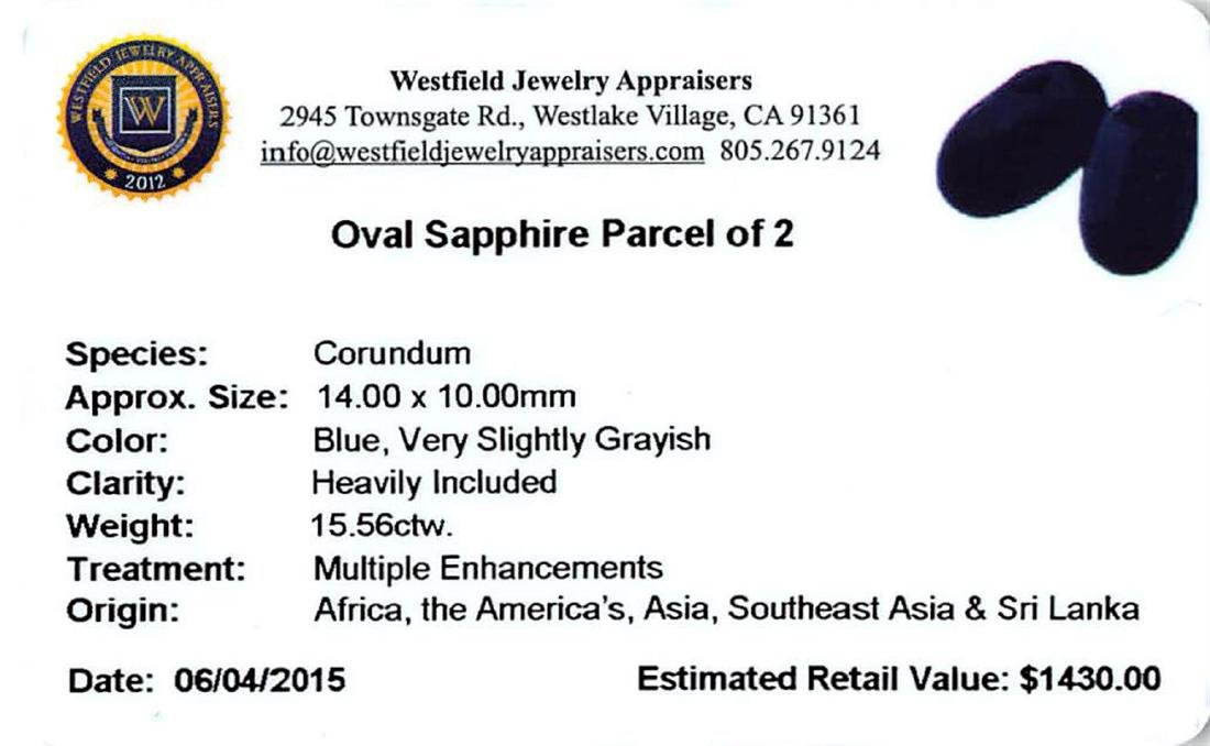 15.56 ctw Oval Mixed Blue Sapphire Parcel - 2