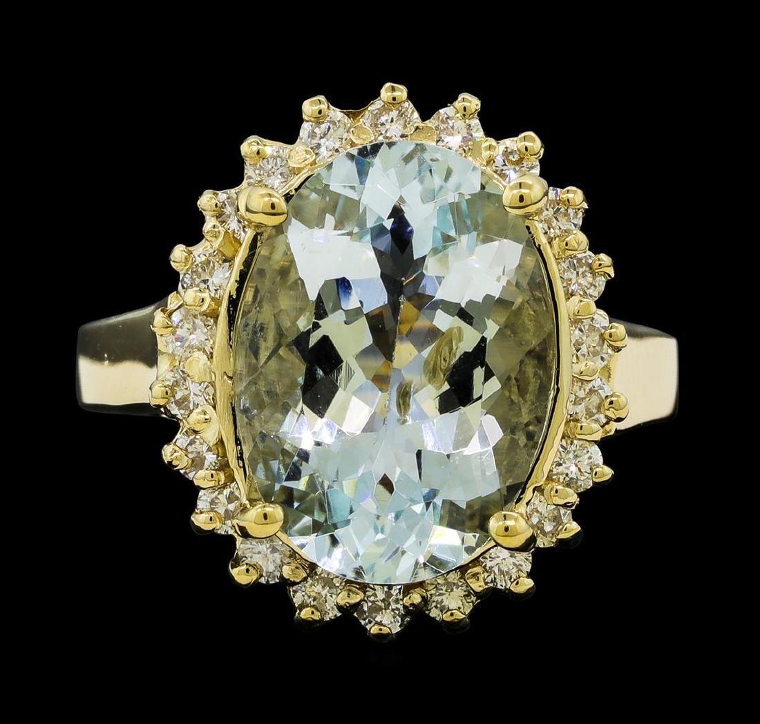 4.45 ctw Aquamarine and Diamond Ring - 14KT Yellow Gold - 2