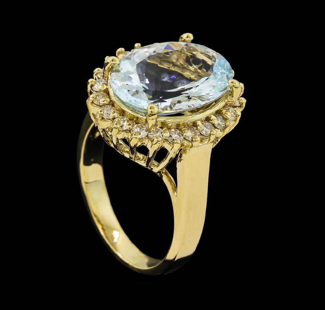 4.45 ctw Aquamarine and Diamond Ring - 14KT Yellow Gold - 4