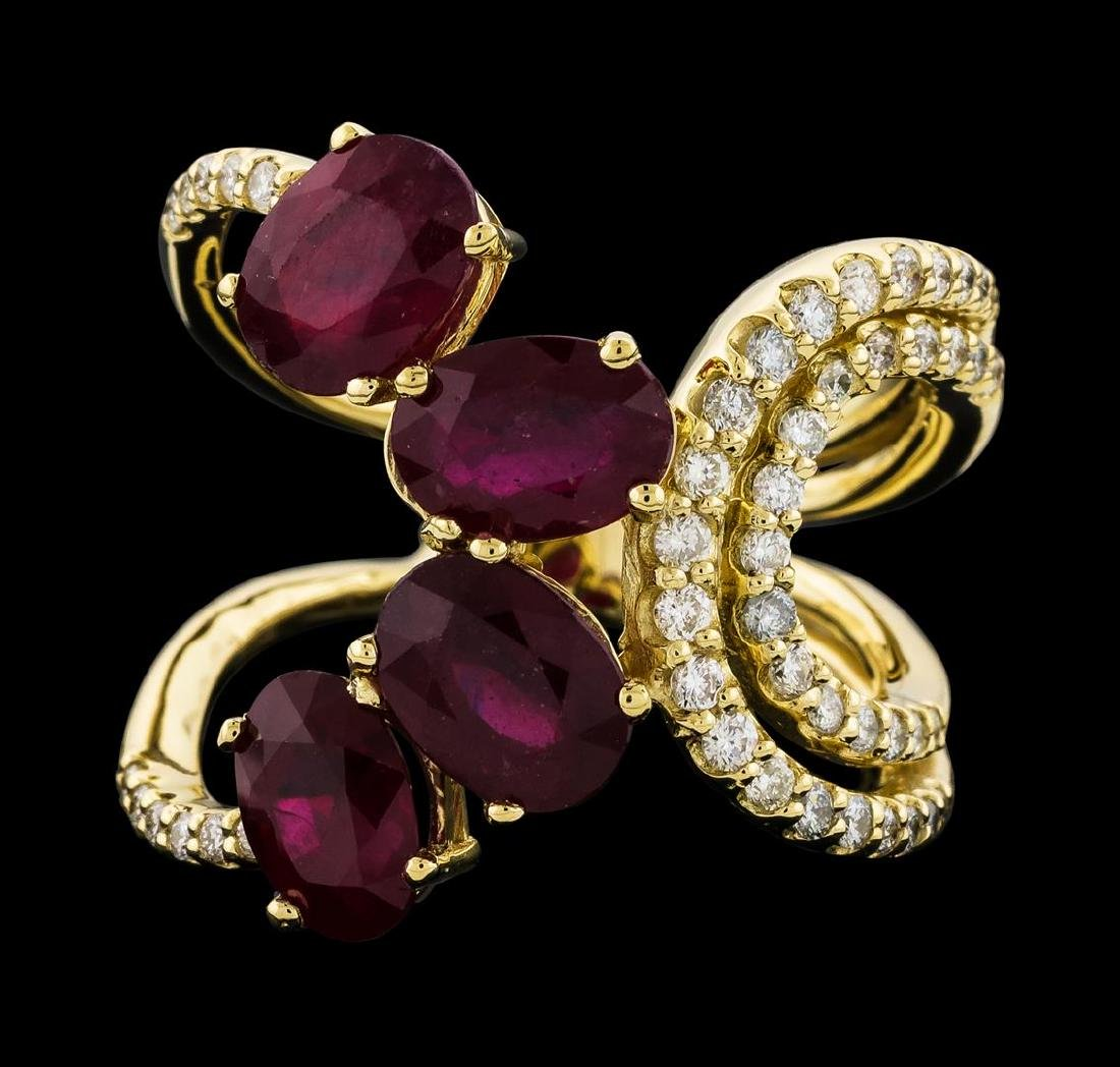 4.73 ctw Ruby and Diamond Ring - 14KT Yellow Gold - 2