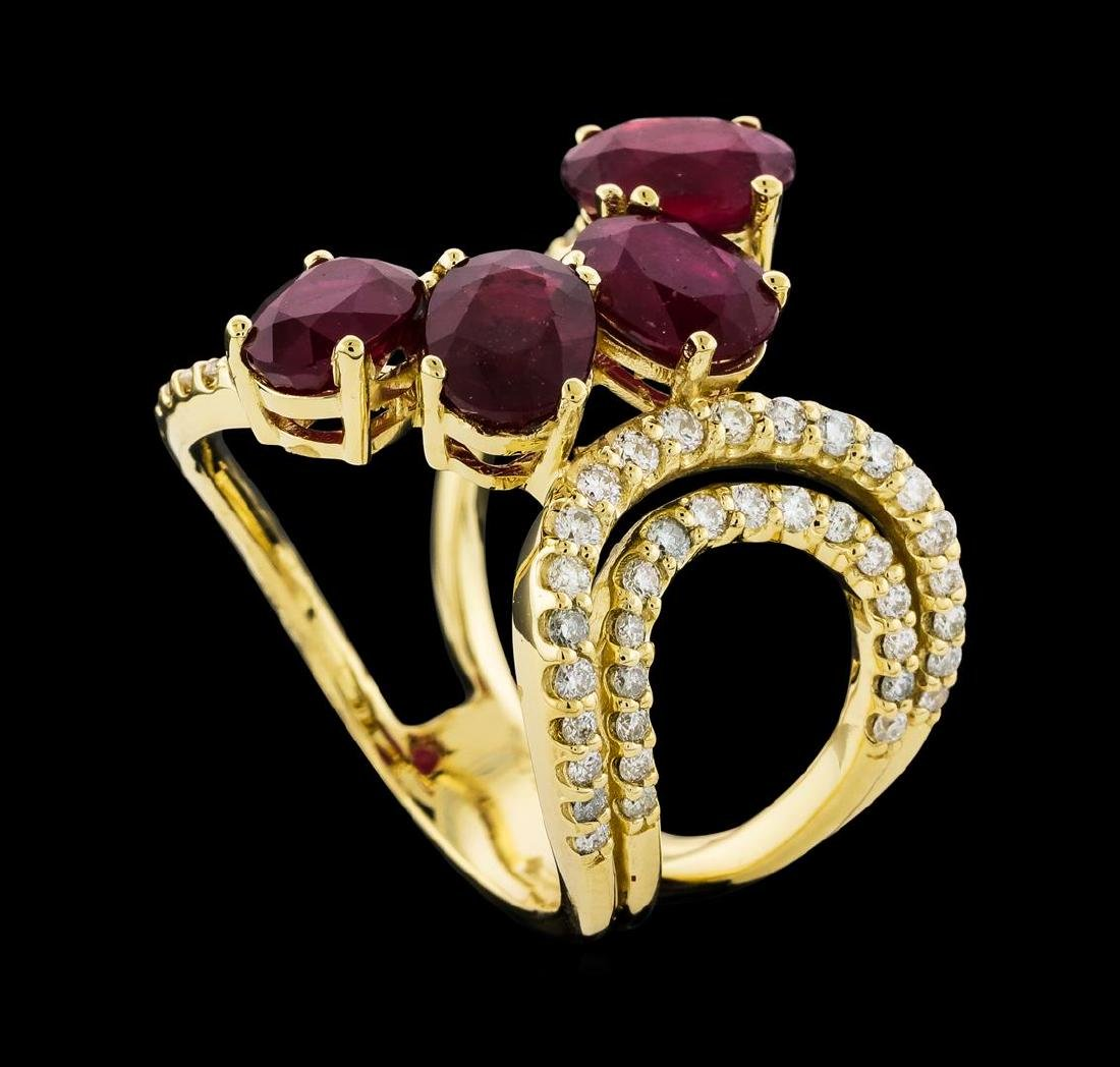 4.73 ctw Ruby and Diamond Ring - 14KT Yellow Gold - 4