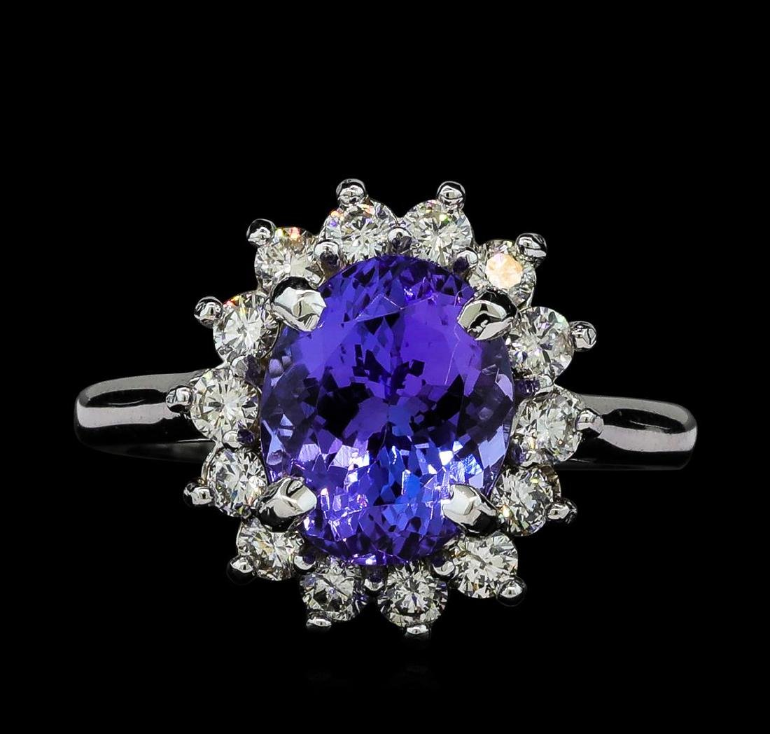 3.5 ctw Tanzanite and Diamond Ring - 14KT White Gold - 2