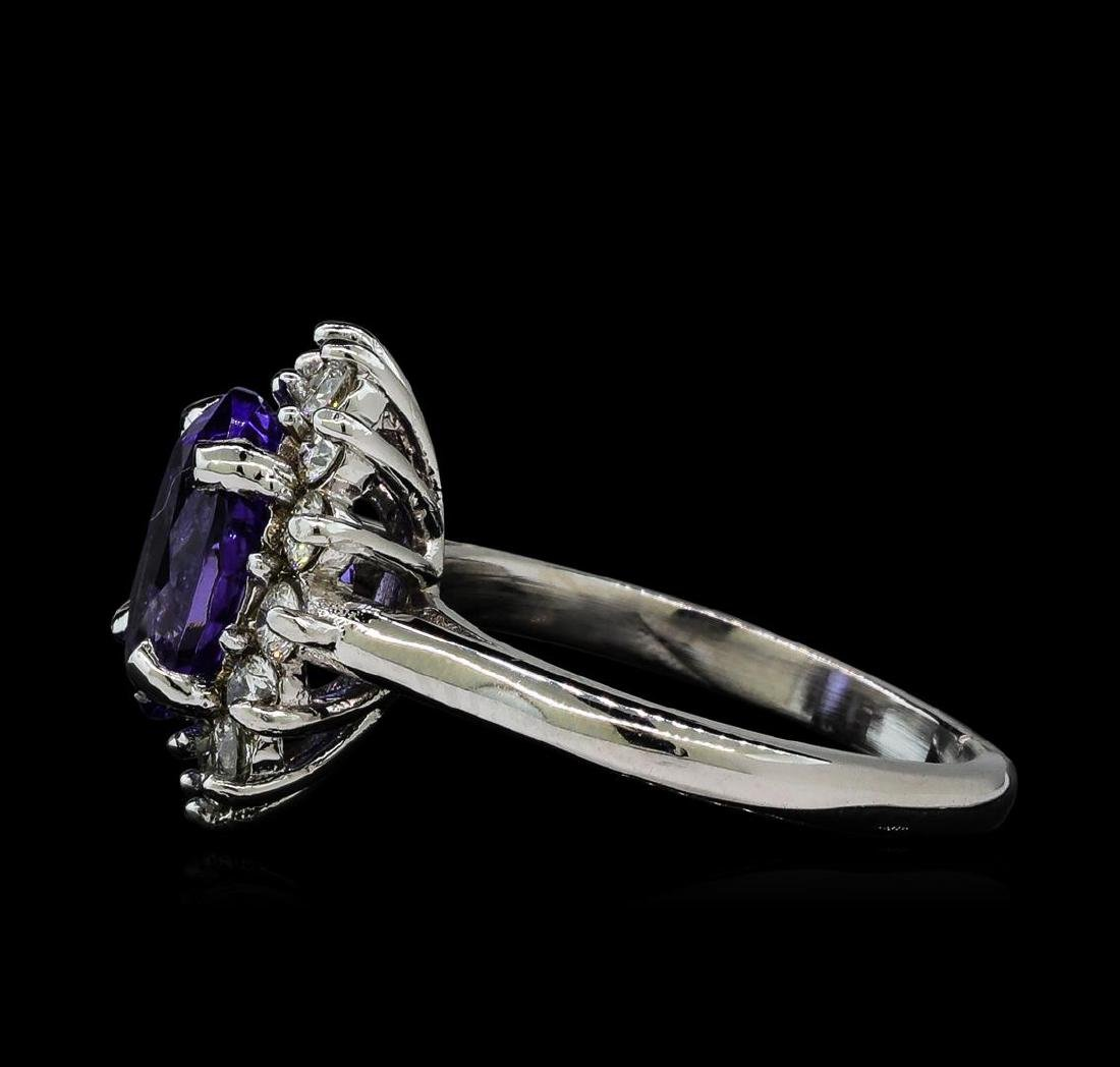 3.5 ctw Tanzanite and Diamond Ring - 14KT White Gold - 3