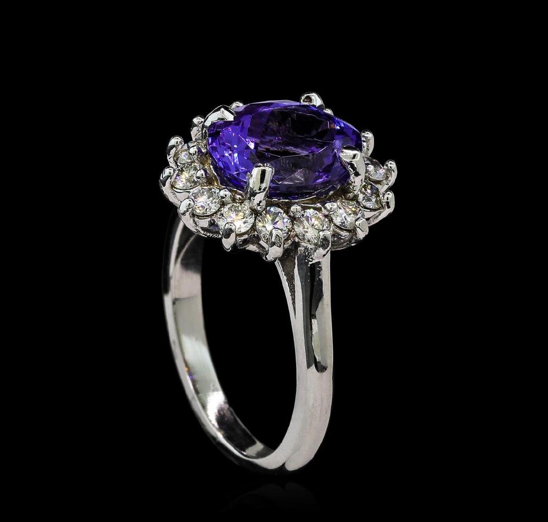 3.5 ctw Tanzanite and Diamond Ring - 14KT White Gold - 4