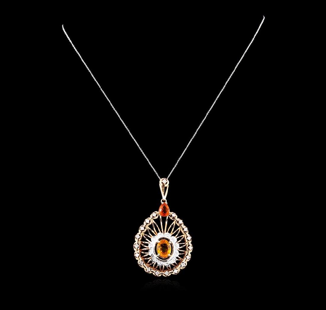 5.15 ctw Orange Sapphire and Diamond Pendant - 14KT - 2