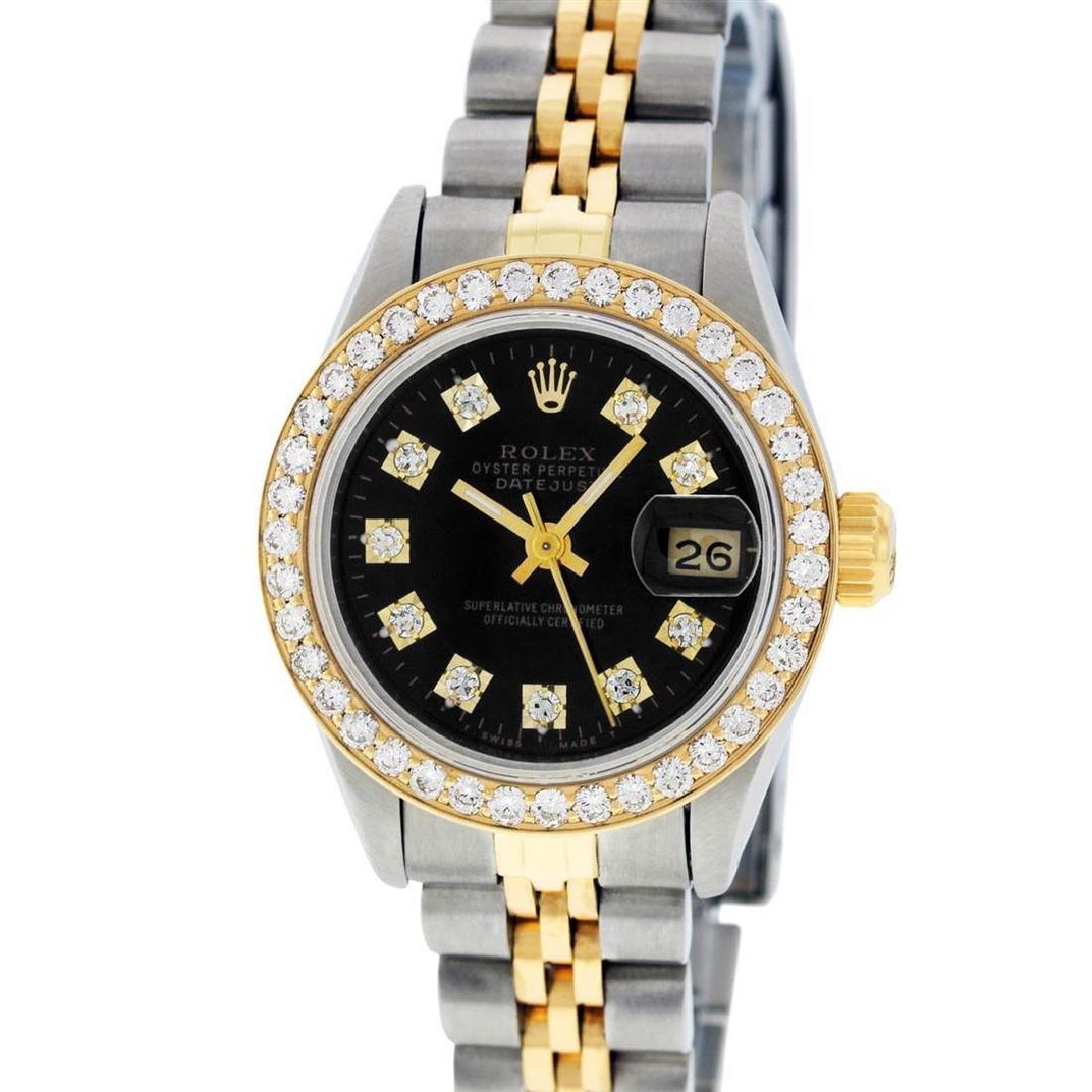 Rolex Ladies 2 Tone 14K Black Diamond Bezel & 1 ctw - 2