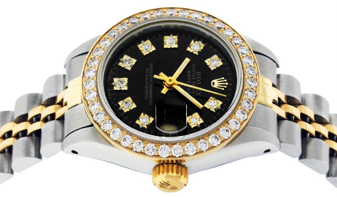 Rolex Ladies 2 Tone 14K Black Diamond Bezel & 1 ctw - 3