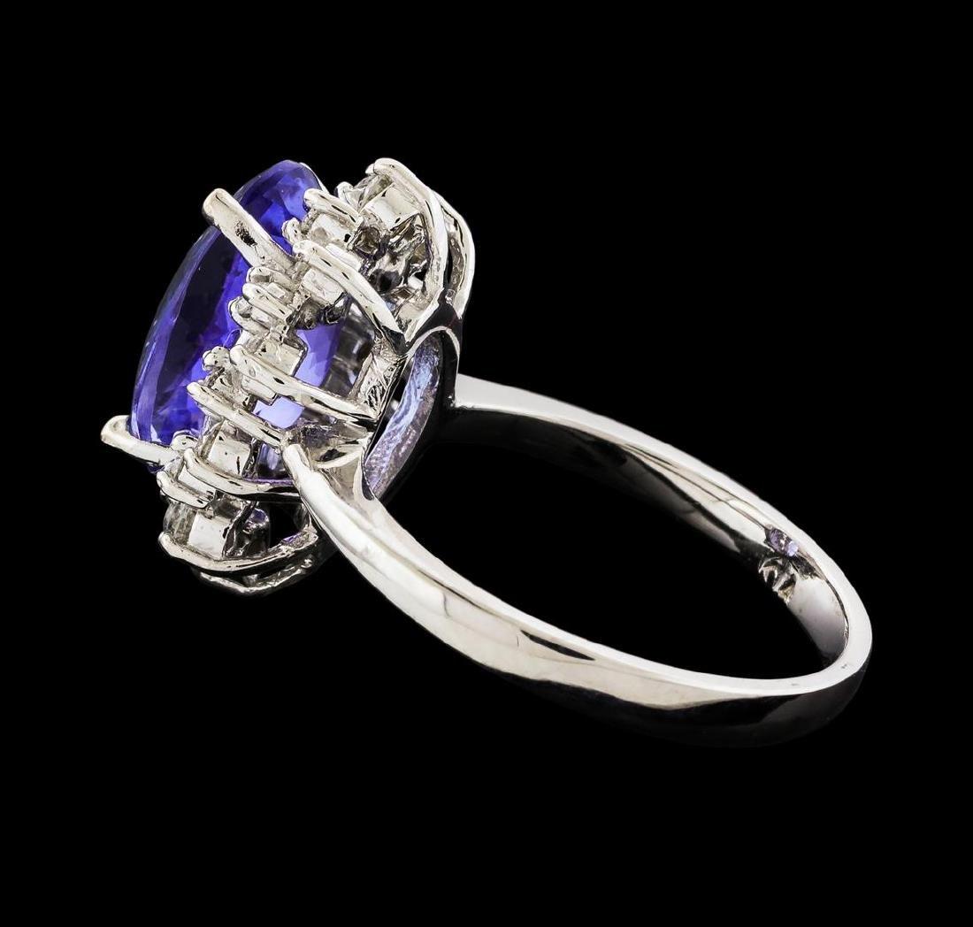 4.06 ctw Tanzanite and Diamond Ring - 14KT White Gold - 3