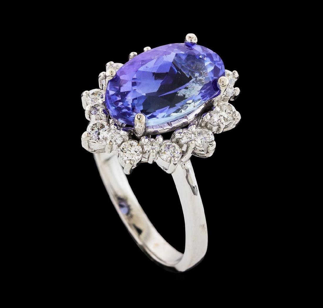 4.06 ctw Tanzanite and Diamond Ring - 14KT White Gold - 4