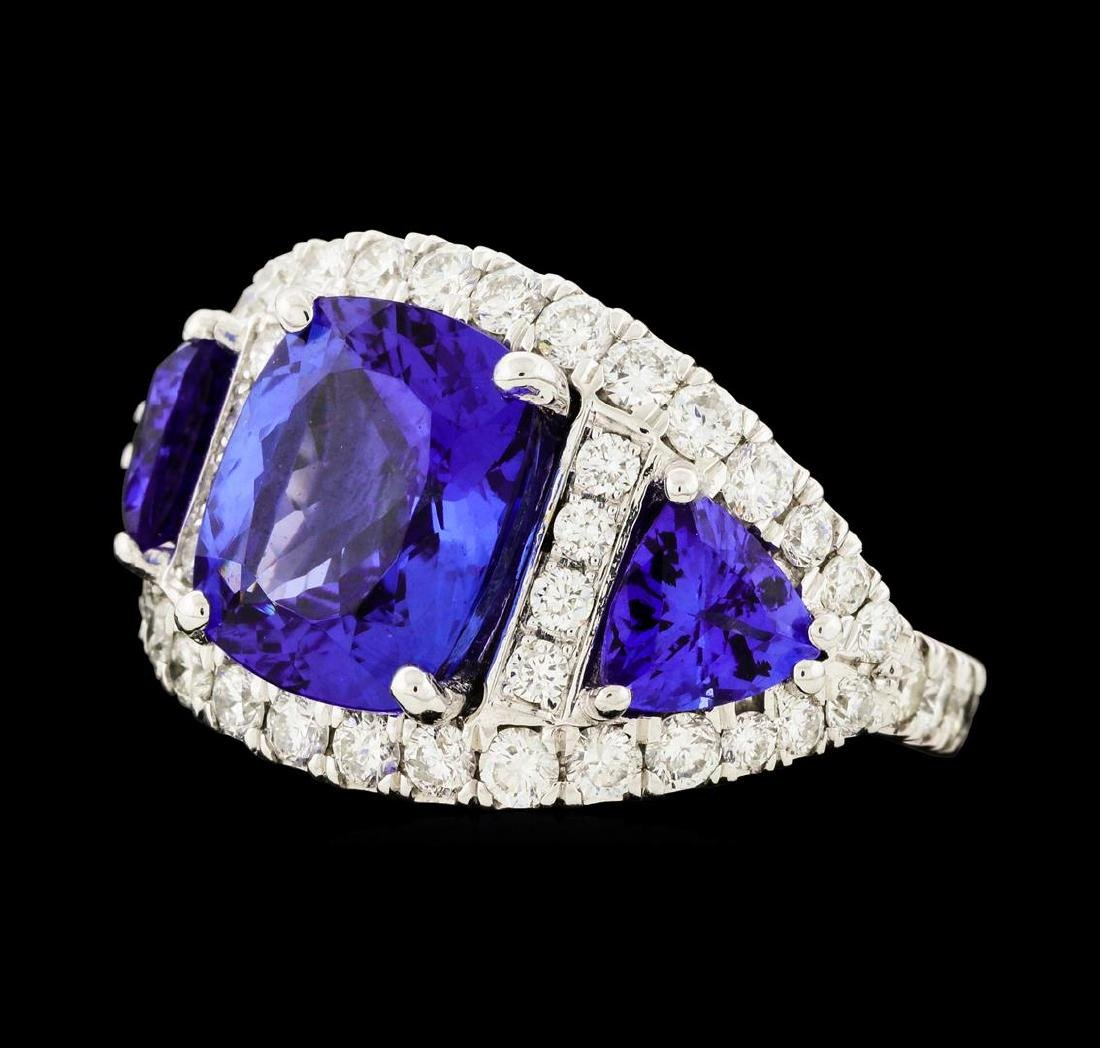 6.10 ctw Tanzanite and Diamond Ring - 14KT White Gold - 2