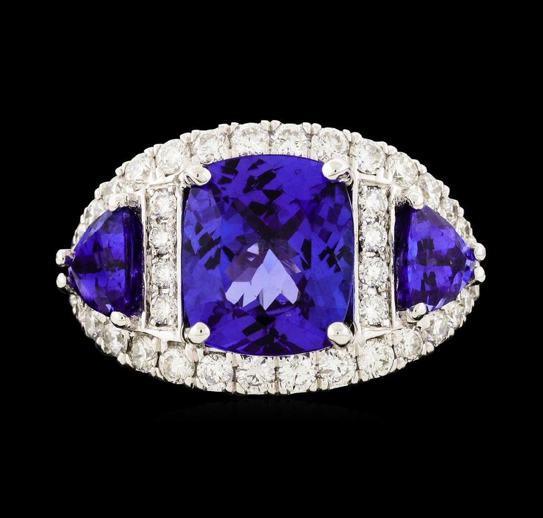 6.10 ctw Tanzanite and Diamond Ring - 14KT White Gold - 3