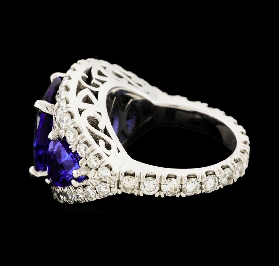 6.10 ctw Tanzanite and Diamond Ring - 14KT White Gold - 4