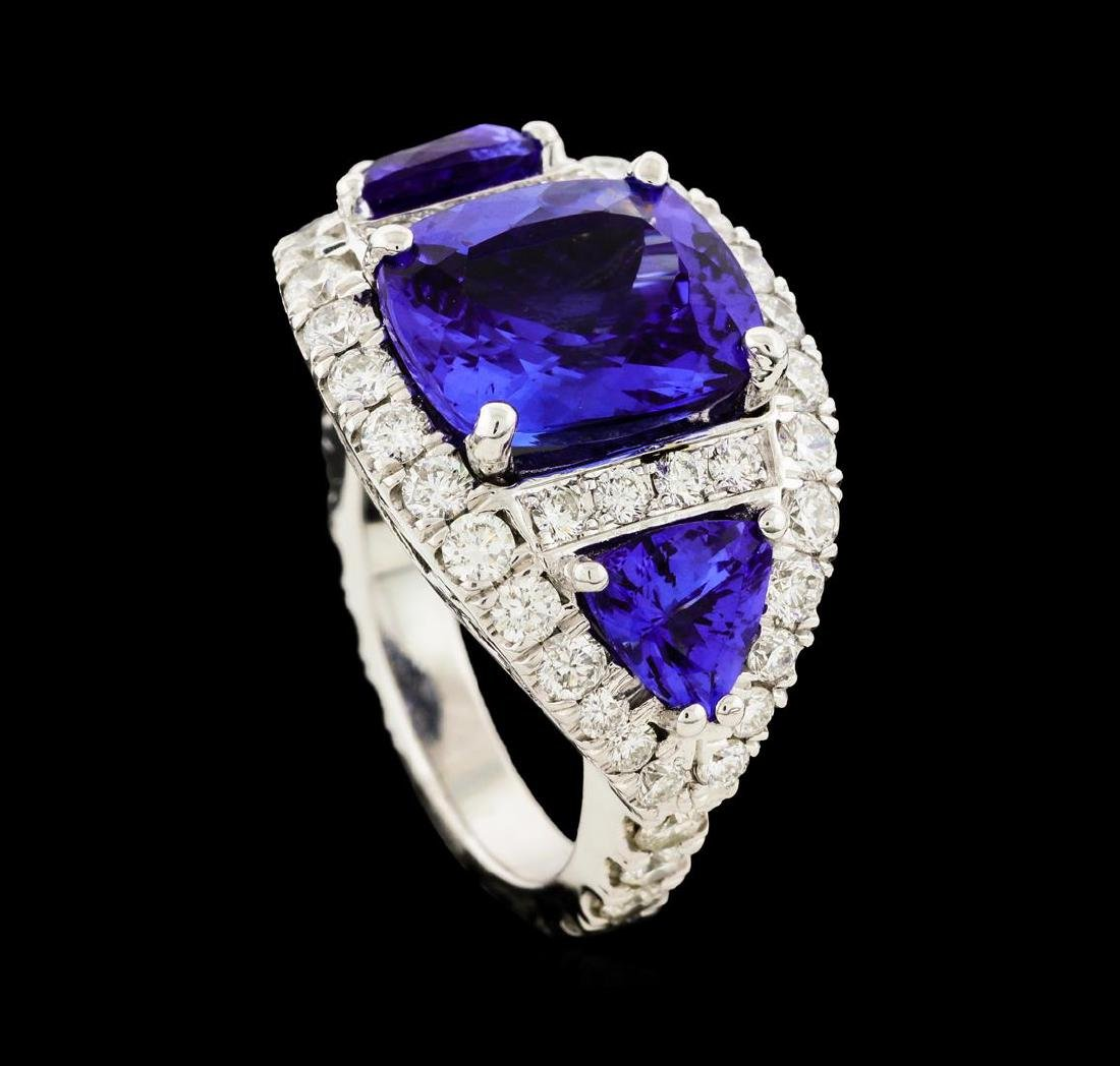 6.10 ctw Tanzanite and Diamond Ring - 14KT White Gold - 5