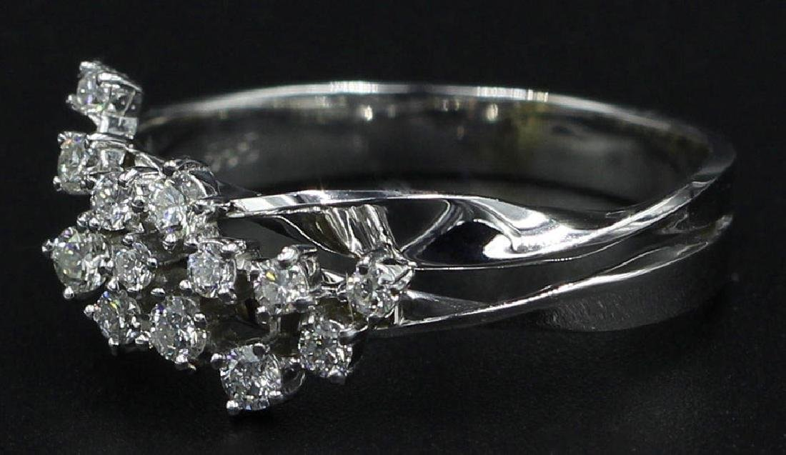0.30 ctw Diamond Cluster Ring - 14KT White Gold - 2