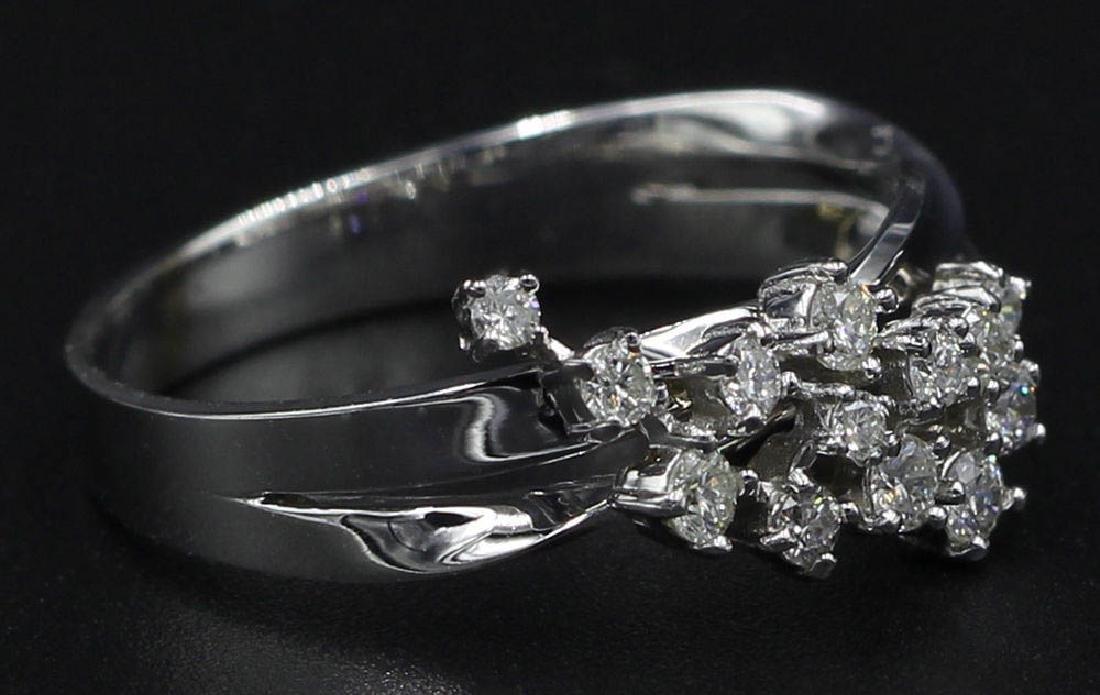 0.30 ctw Diamond Cluster Ring - 14KT White Gold - 3