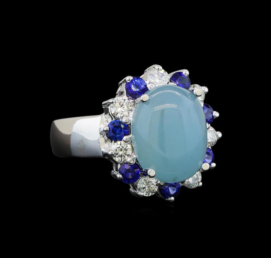 14KT White Gold 4.43 ctw Aquamarine, Sapphire and