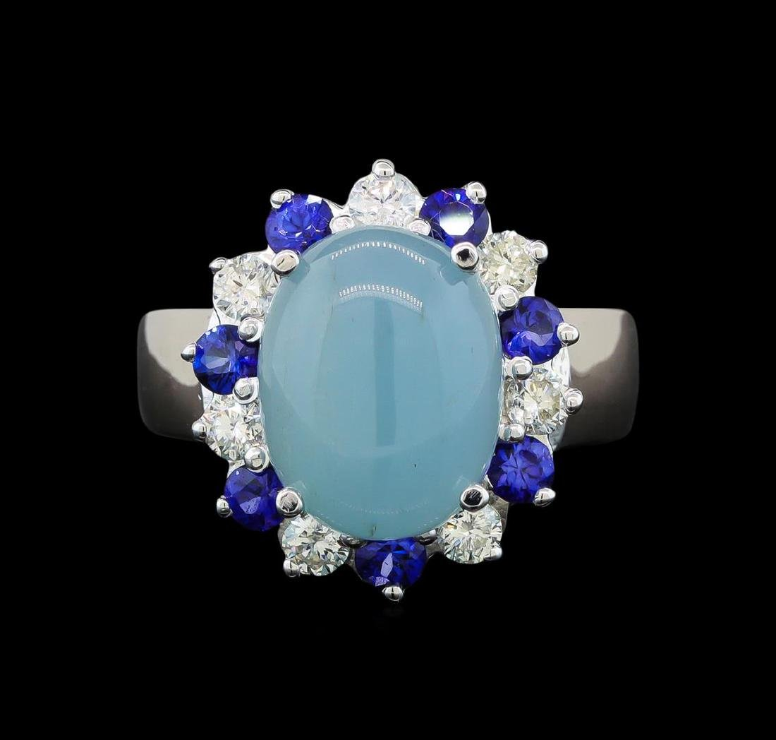 14KT White Gold 4.43 ctw Aquamarine, Sapphire and - 2