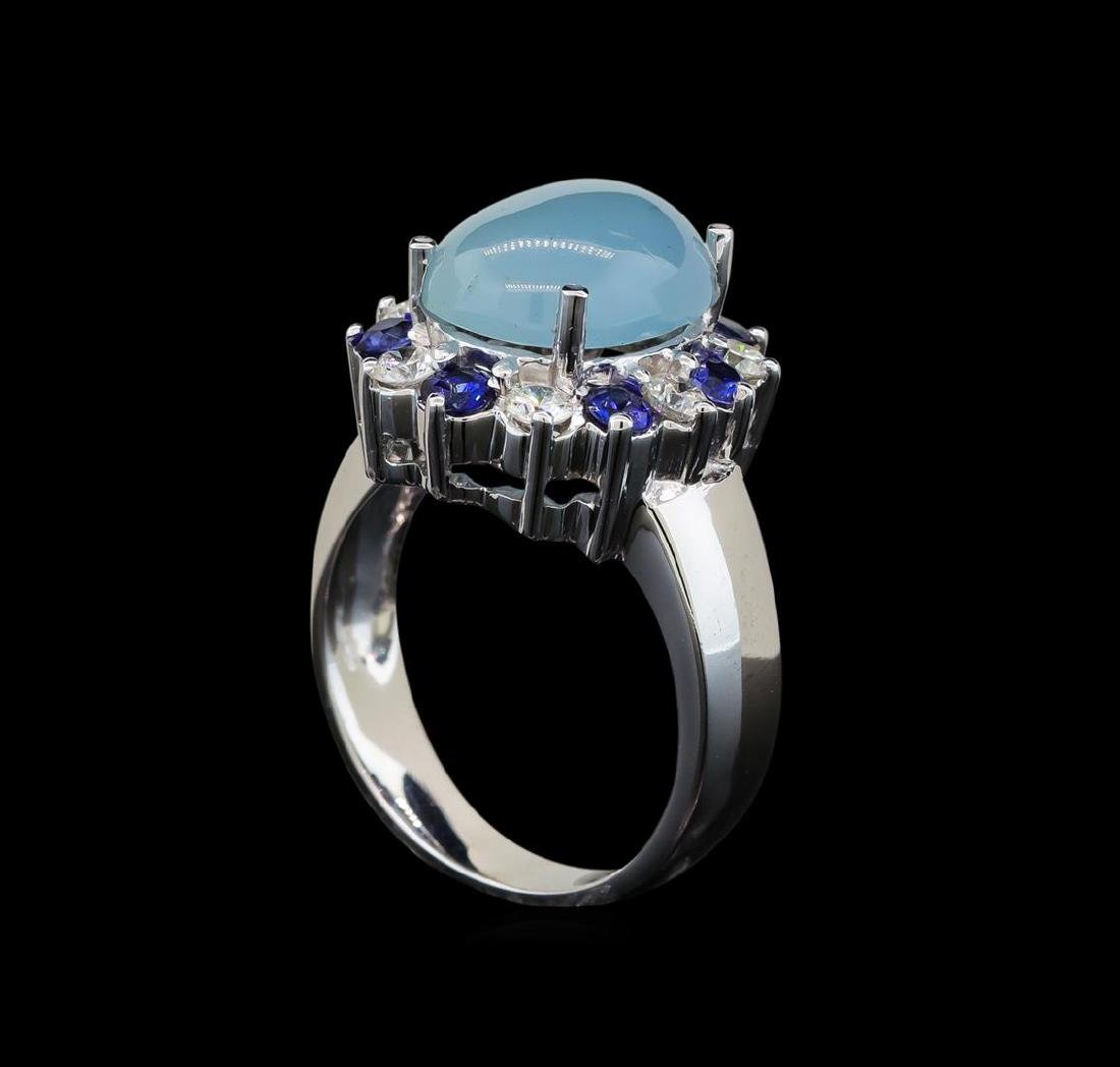 14KT White Gold 4.43 ctw Aquamarine, Sapphire and - 4