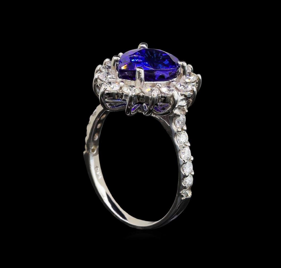 14KT White Gold 3.25 ctw Tanzanite and Diamond Ring - 4