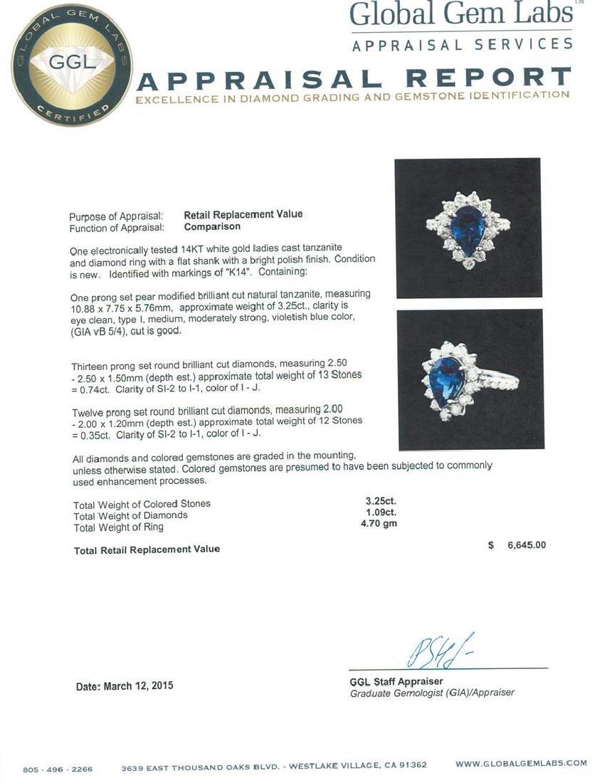 14KT White Gold 3.25 ctw Tanzanite and Diamond Ring - 5