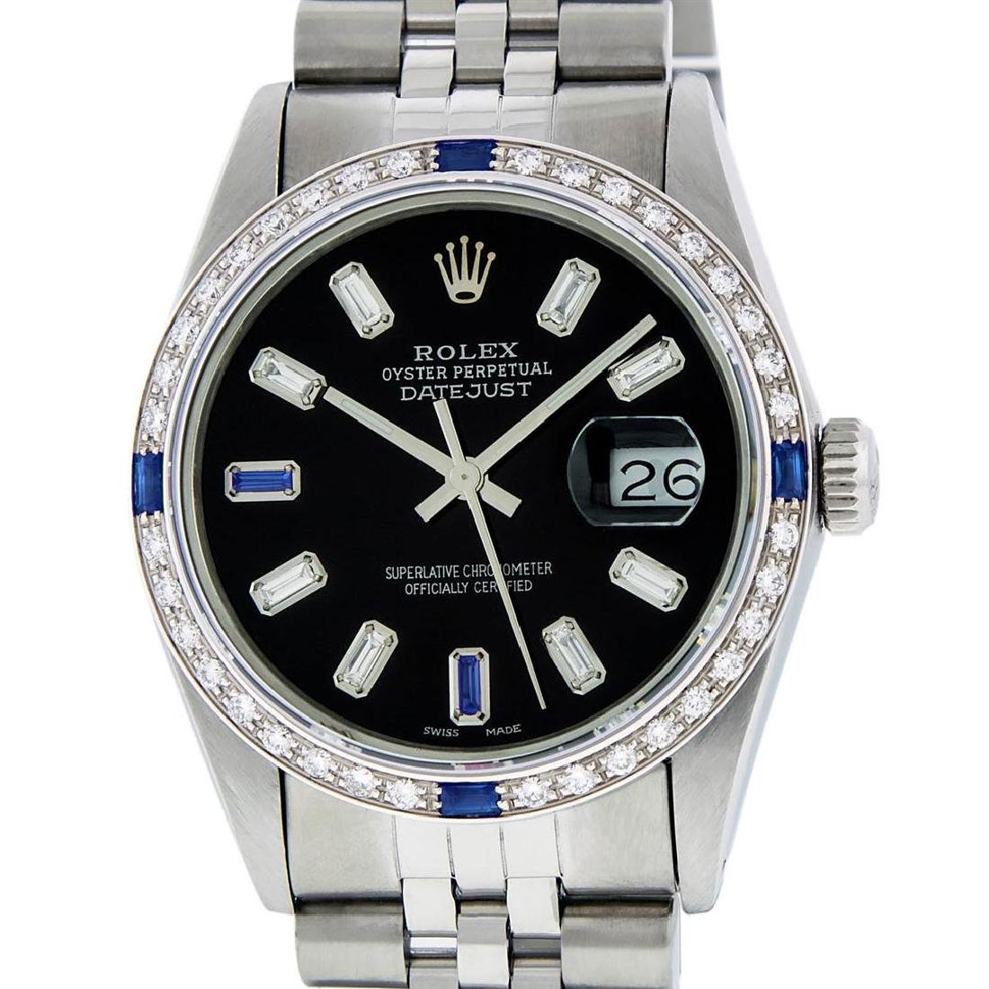 Rolex Mens Stainless Steel Black Baguette Diamond Dial