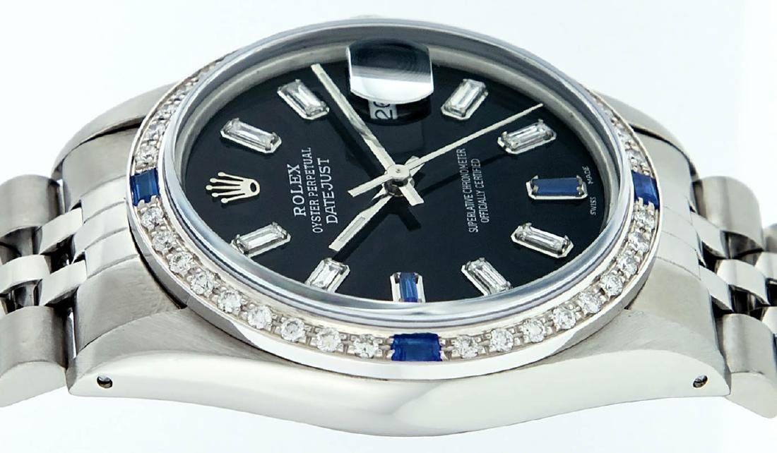 Rolex Mens Stainless Steel Black Baguette Diamond Dial - 9