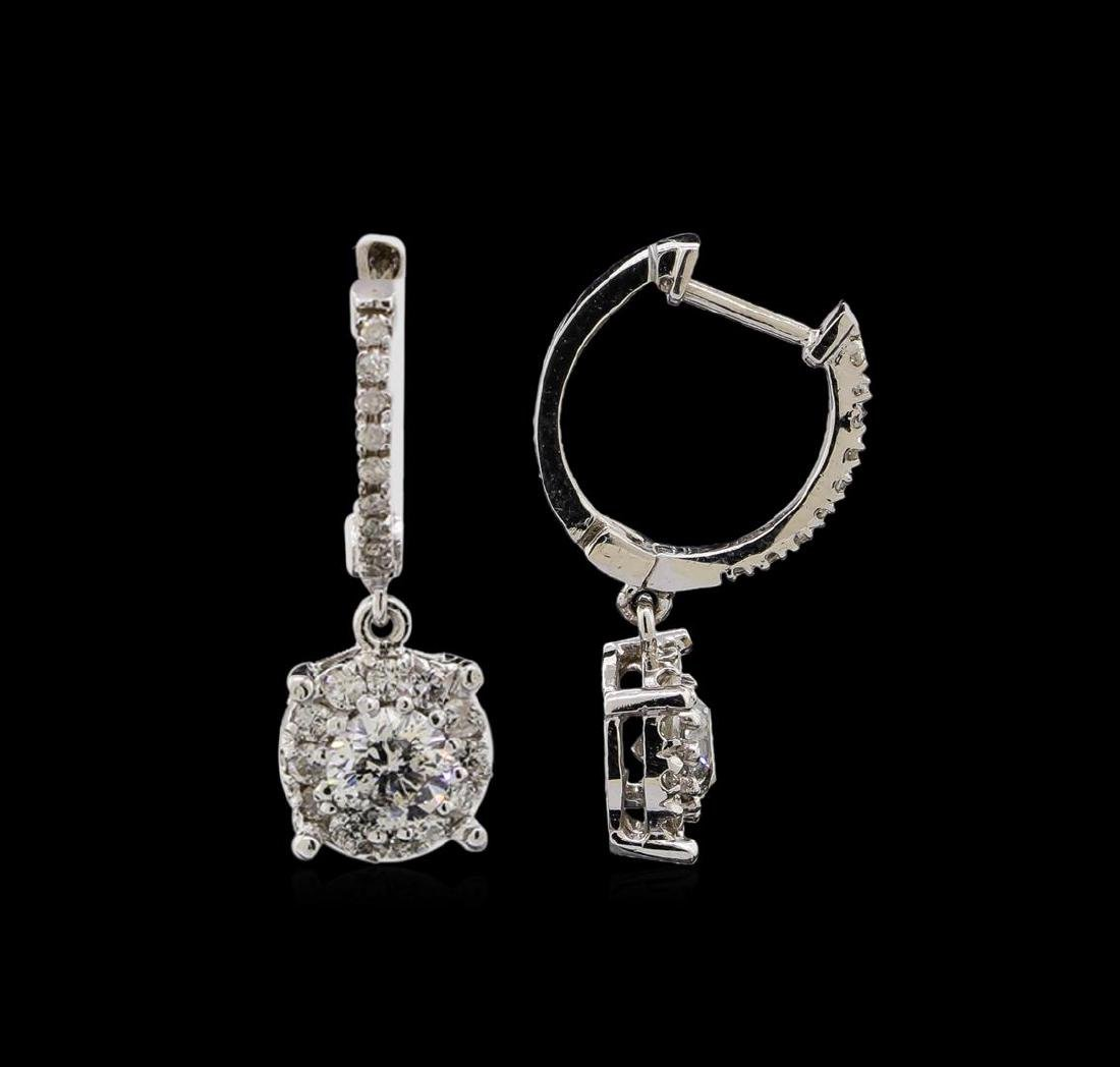 14KT White Gold 1.03 ctw Diamond Earrings - 2