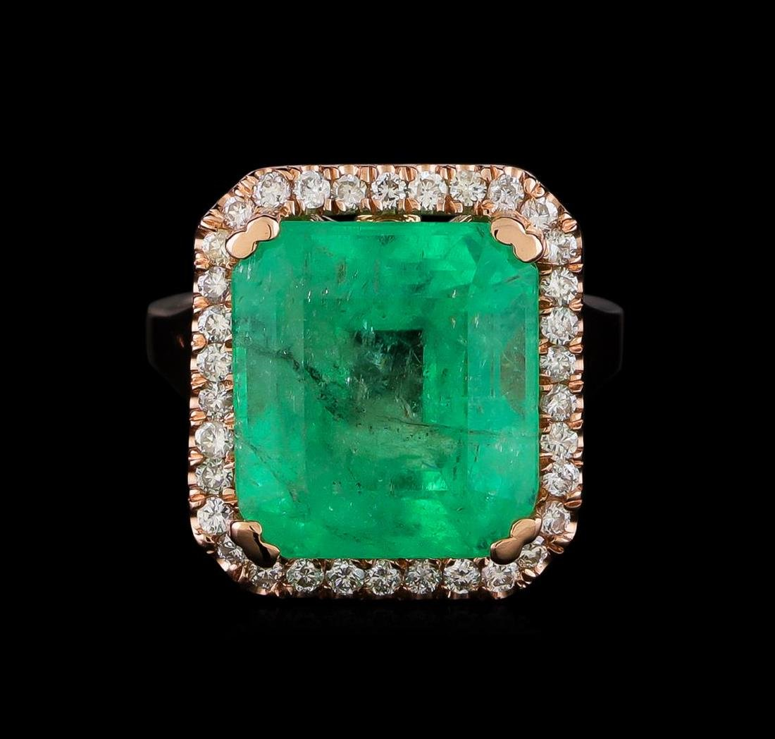 11.44 ctw Emerald and Diamond Ring - 14KT Rose Gold - 2