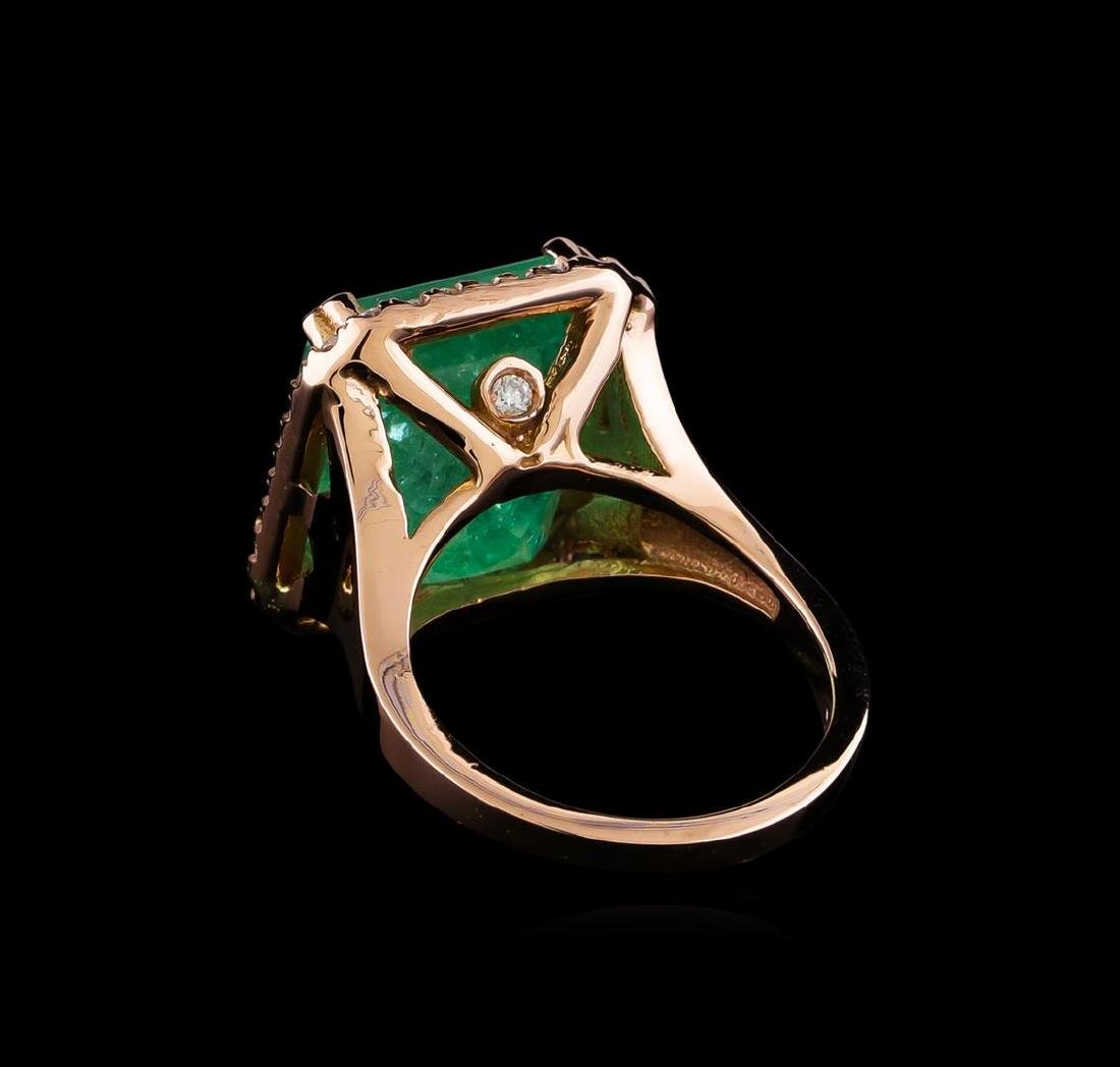 11.44 ctw Emerald and Diamond Ring - 14KT Rose Gold - 3