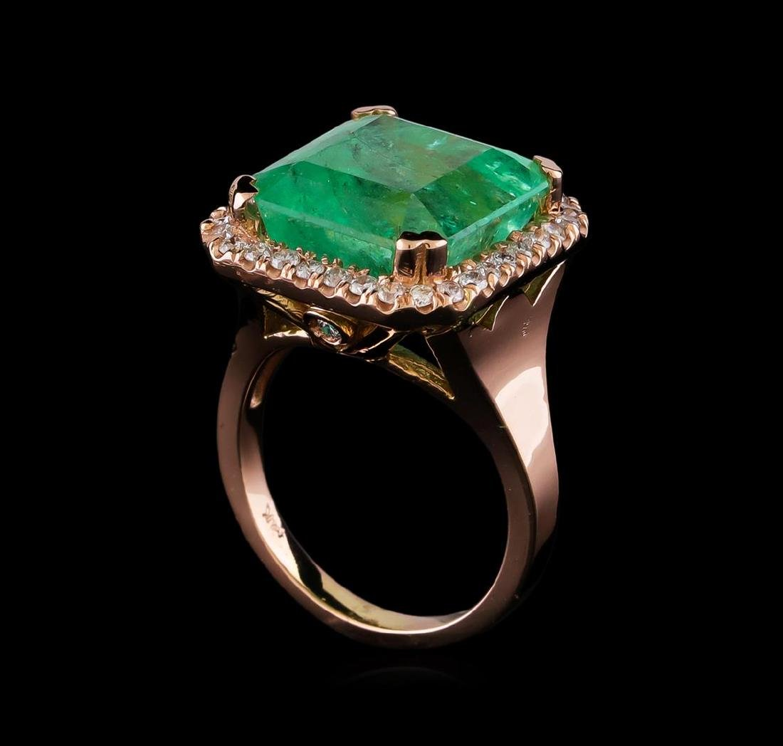 11.44 ctw Emerald and Diamond Ring - 14KT Rose Gold - 4