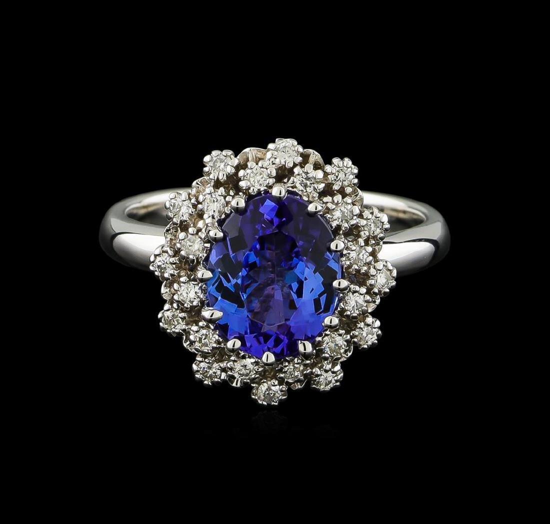 2.3 ctw Tanzanite and Diamond Ring - 14KT White Gold - 2
