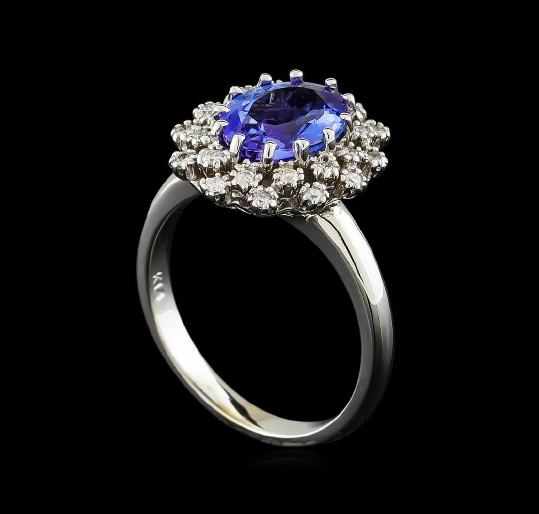 2.3 ctw Tanzanite and Diamond Ring - 14KT White Gold - 4