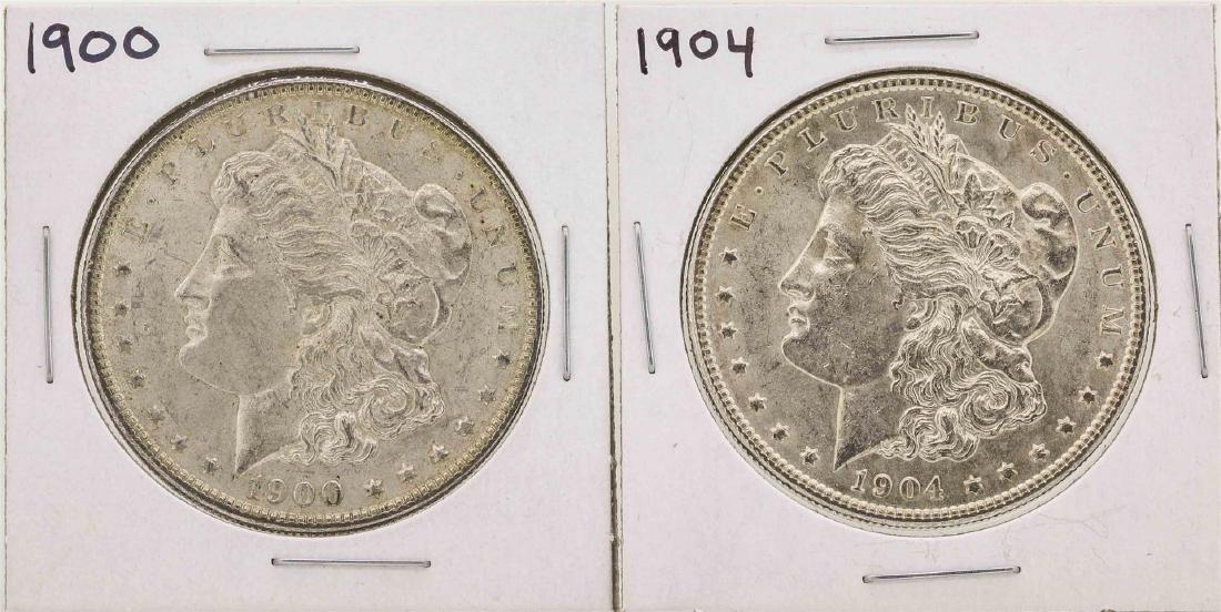 Lot of (2) 1900 & 1904 $1 Morgan Silver Dollar Coins