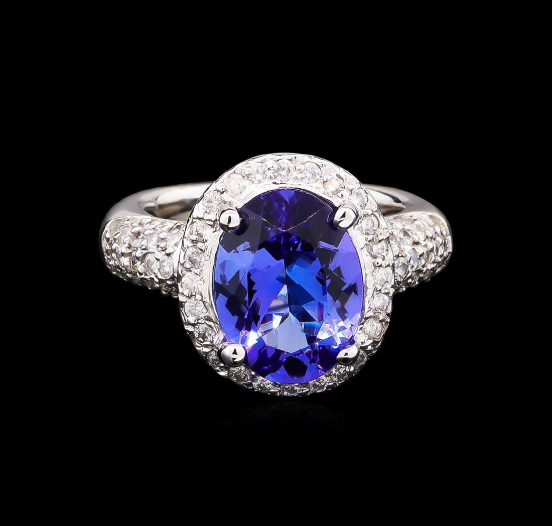 4.80 ctw Tanzanite and Diamond Ring - 14KT White Gold - 2