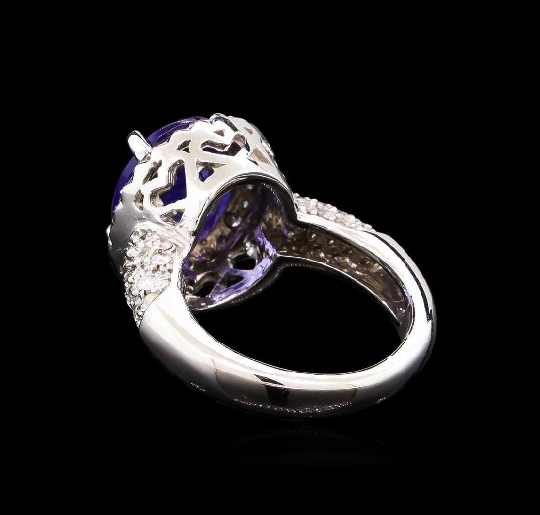 4.80 ctw Tanzanite and Diamond Ring - 14KT White Gold - 3