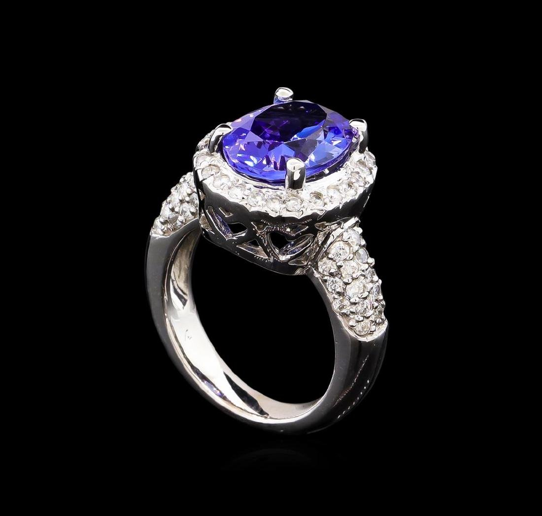 4.80 ctw Tanzanite and Diamond Ring - 14KT White Gold - 4