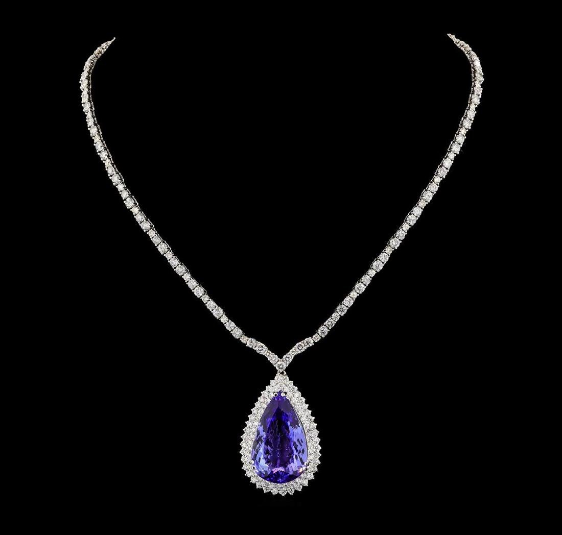 GIA Cert 35.68 ctw Tanzanite and Diamond Necklace -