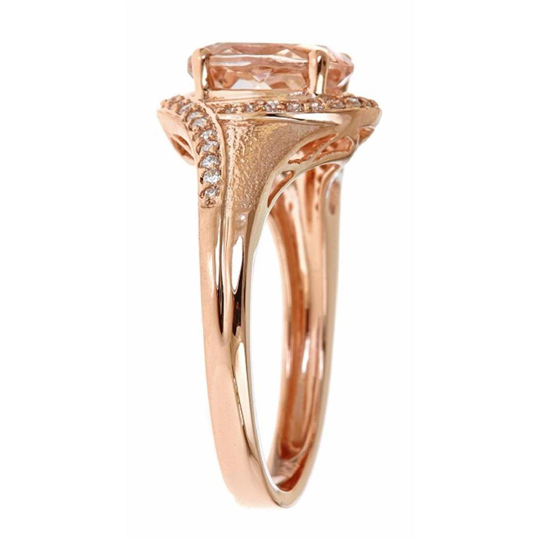 1.54 ctw Morganite and Diamond Ring - 10KT Rose Gold - 2