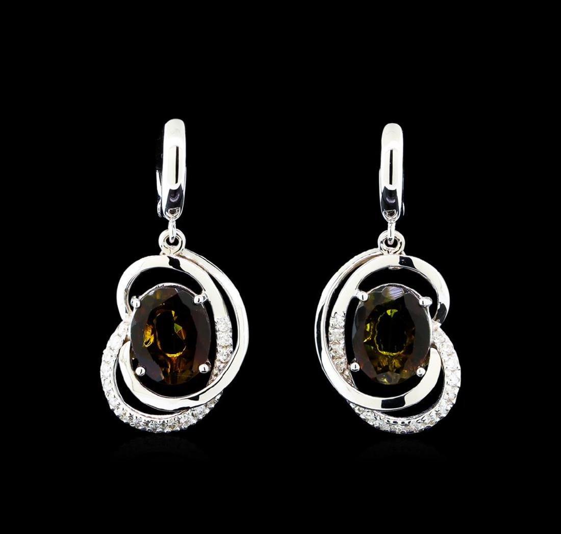 4.15 ctw Tourmaline and Diamond Earrings - 14KT White